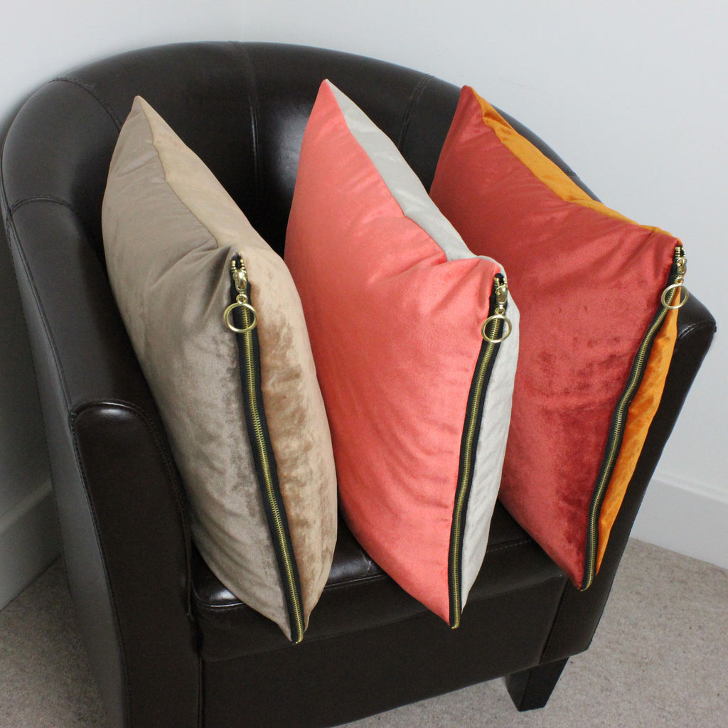 McAlister Textiles Decorative Zipper Edge Caramel + Mocha Velvet Cushion Cushions and Covers Cover Only 43cm x 43cm