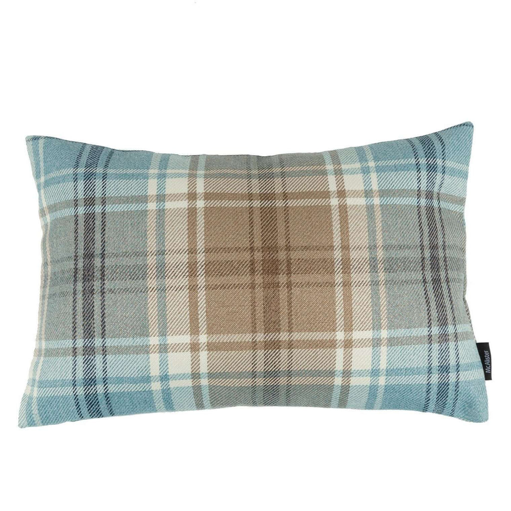 McAlister Textiles Angus Duck Egg Blue Tartan Cushion Cushions and Covers Cover Only 50cm x 30cm