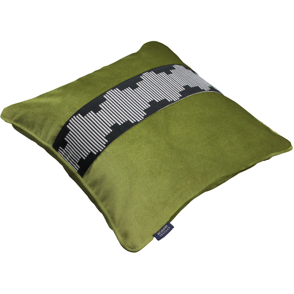 McAlister Textiles Maya Striped Lime Green Velvet Cushion Cushions and Covers