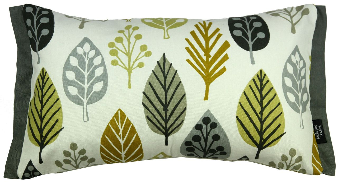 McAlister Textiles Magda Cotton Print Ochre Yellow Pillow Pillow Cover Only 50cm x 30cm