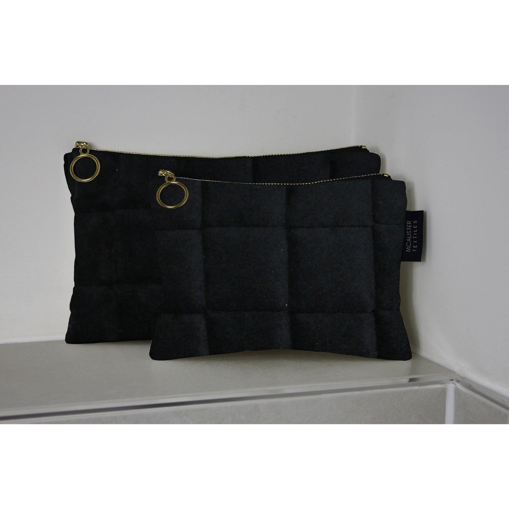 McAlister Textiles Square Pattern Black Velvet Makeup Bag Set Clutch Bag
