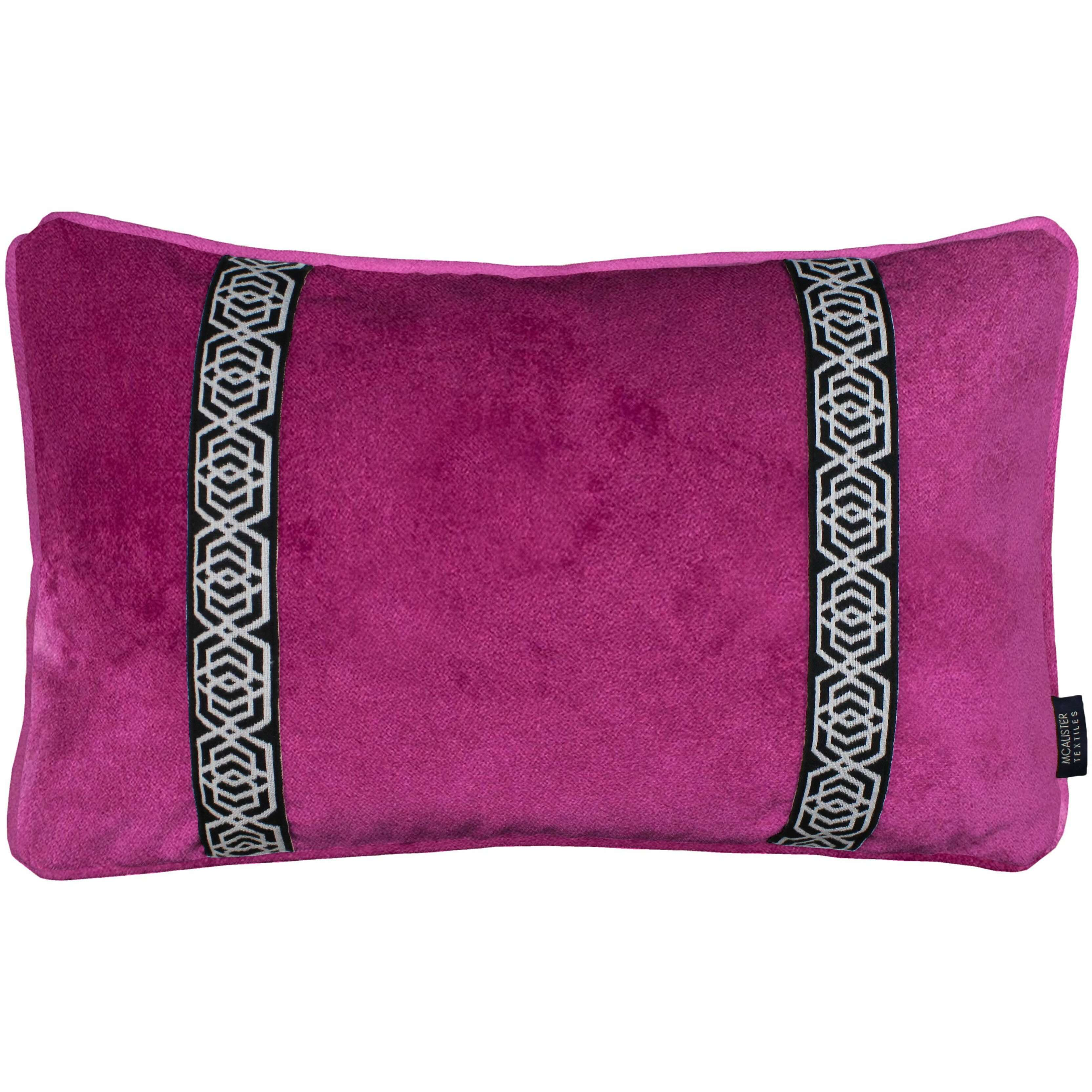 McAlister Textiles Coba Striped Fuchsia Pink Velvet Pillow Pillow Cover Only 50cm x 30cm