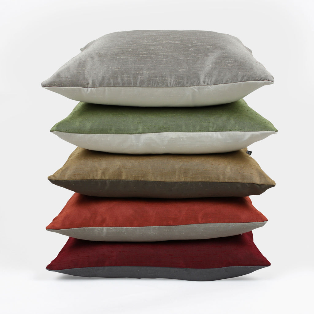 McAlister Textiles Rocco Contrast Faux Silk Red + Grey Pillow Pillow