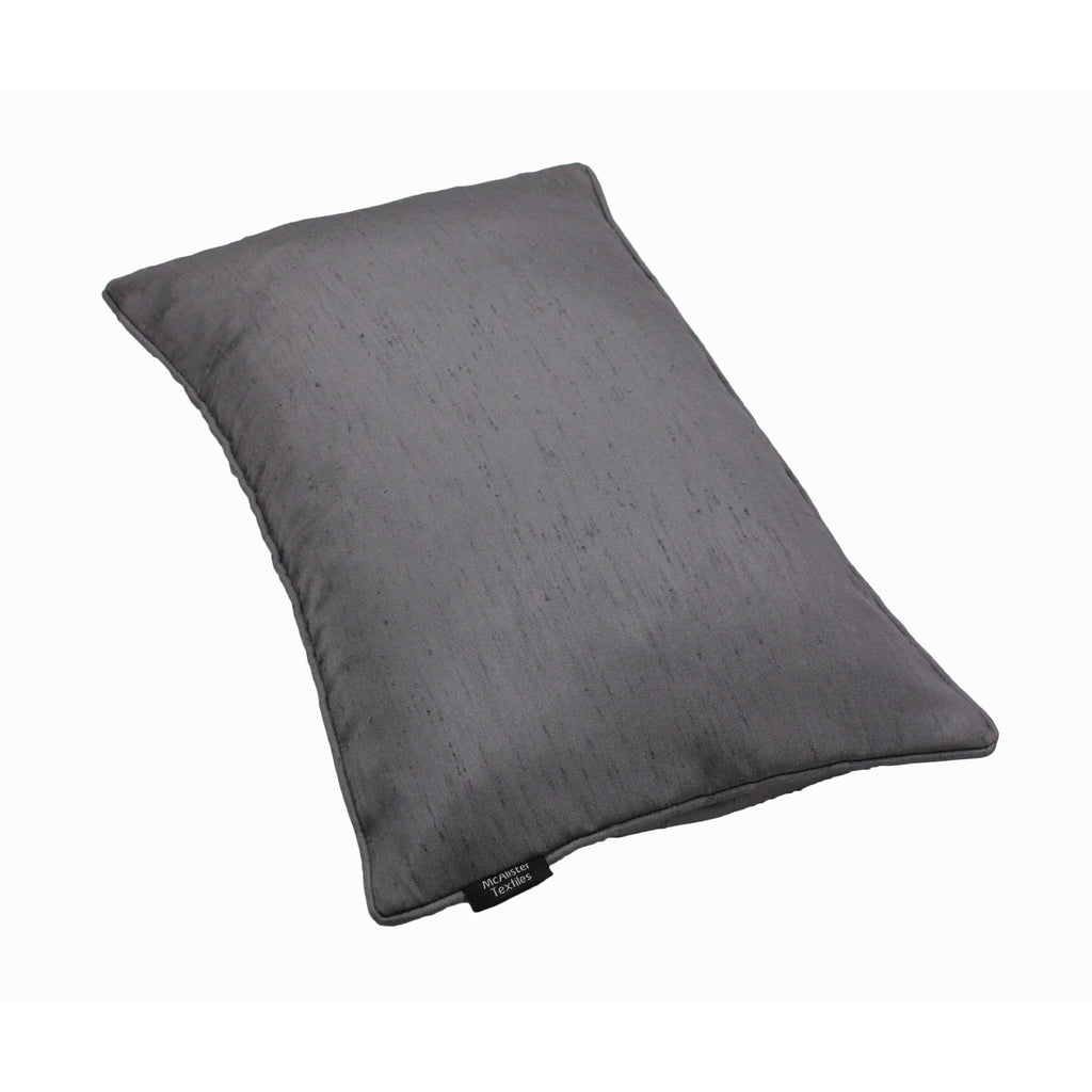 McAlister Textiles Rocco Plain Faux Silk Silver Grey Cushion Cushions and Covers