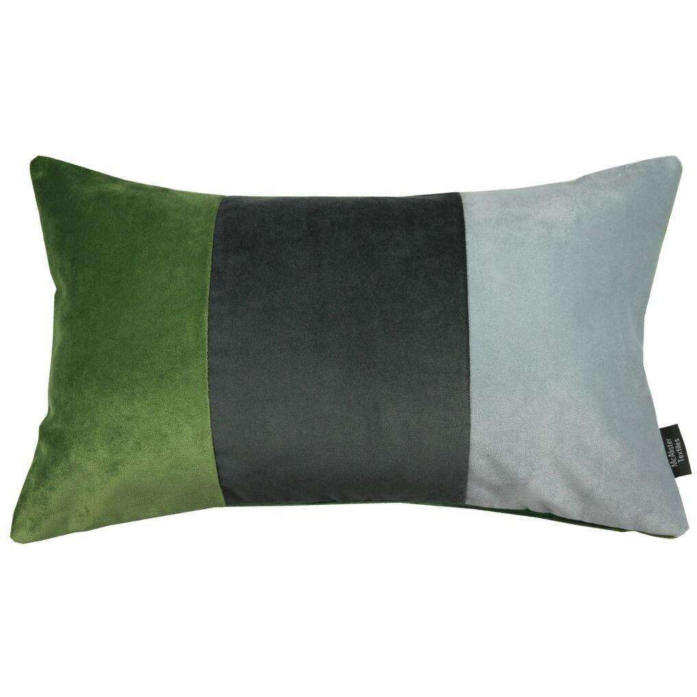 McAlister Textiles 3 Colour Patchwork Velvet Green, Silver + Grey Pillow Cushions and Covers