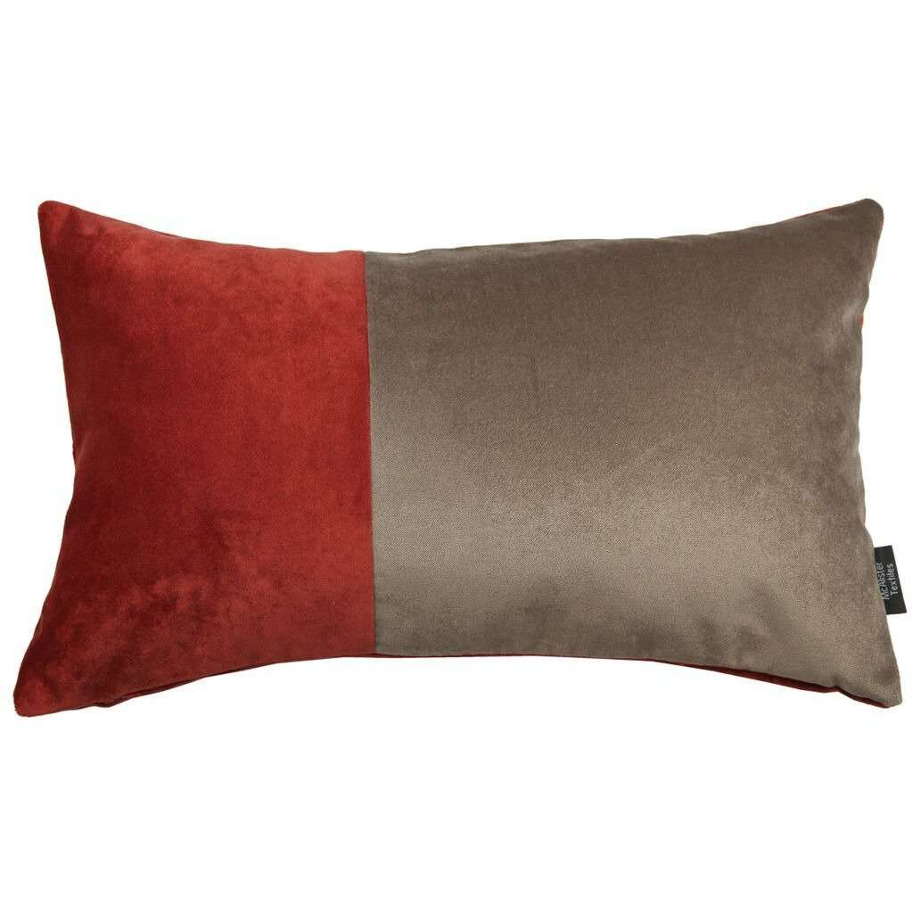 McAlister Textiles 2 Colour Patchwork Velvet Red + Brown Pillow Pillow Cover Only 50cm x 30cm