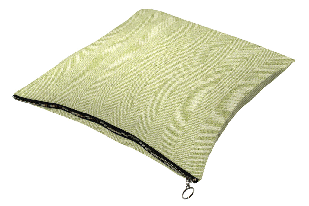 McAlister Textiles Herringbone Zipper Edge Sage Green Cushion Cushions and Covers Cover Only 43cm x 43cm
