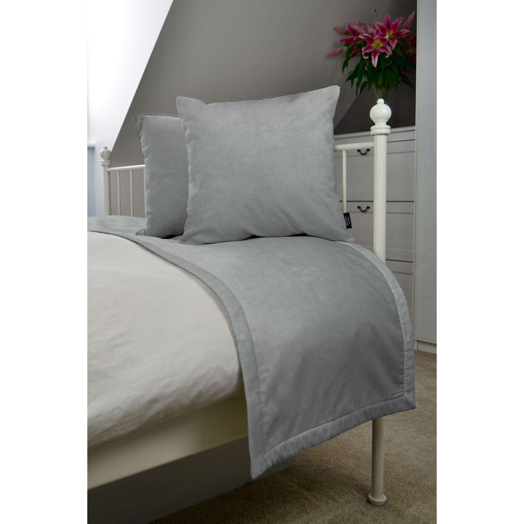 McAlister Textiles Matt Dove Grey Velvet Bedding Set Bedding Set Runner (50x240cm) + 2x Cushion Covers