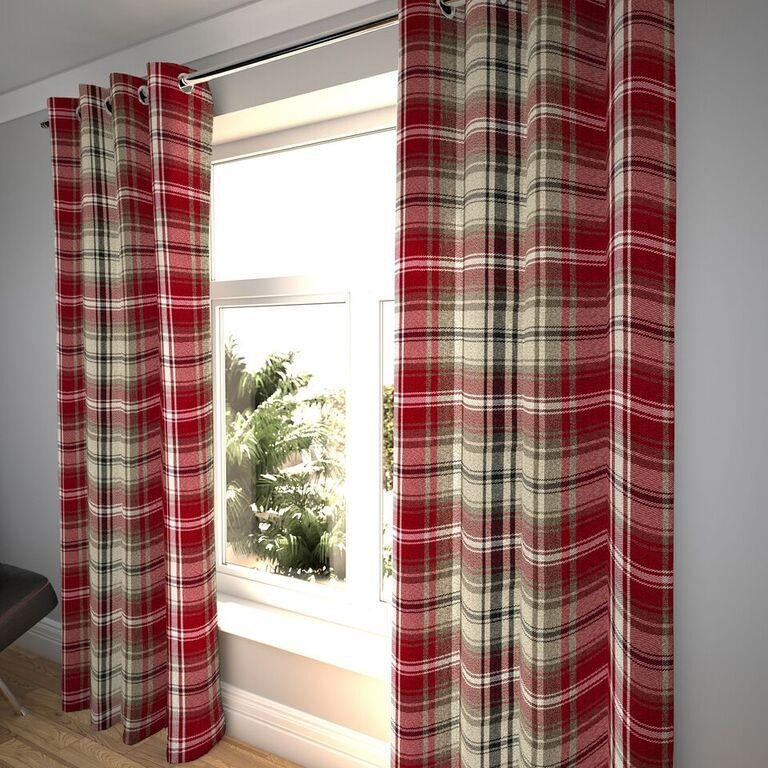 "McAlister Textiles Angus Tartan Check Red + White Curtains Tailored Curtains 116cm(w) x 182cm(d) (46"" x 72"")"