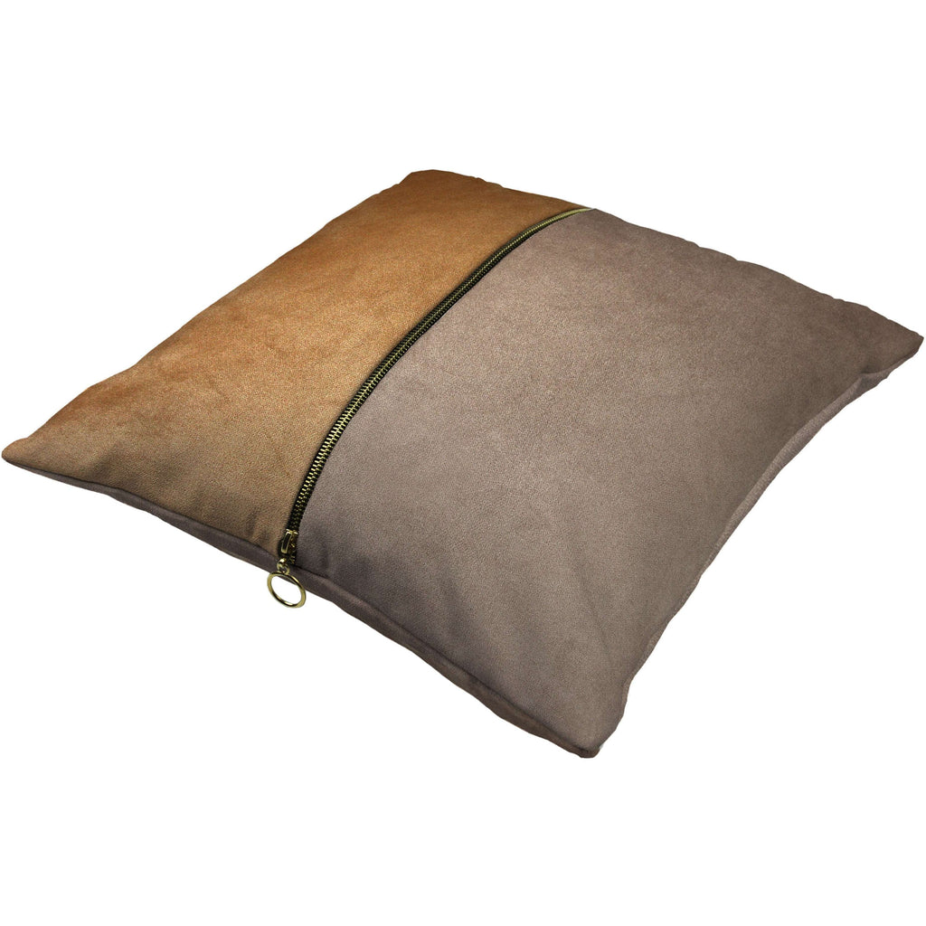 McAlister Textiles Decorative Zip Caramel + Brown Velvet Cushion Cushions and Covers