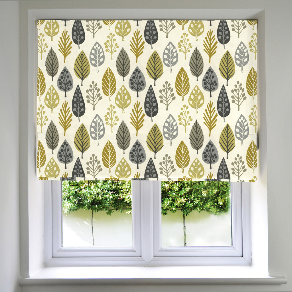 McAlister Textiles Magda Floral Ochre Yellow Roman Blinds Roman Blinds Standard Lining 130cm x 200cm