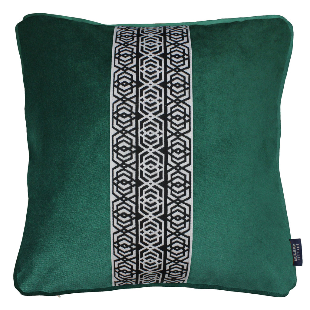 McAlister Textiles Coba Striped Emerald Green Velvet Cushion Cushions and Covers Polyester Filler 43cm x 43cm