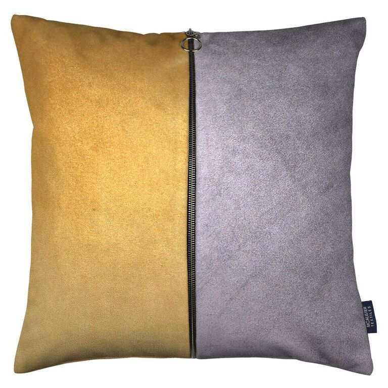 McAlister Textiles Decorative Zip Yellow + Grey Velvet Cushion Cushions and Covers Cover Only 43cm x 43cm
