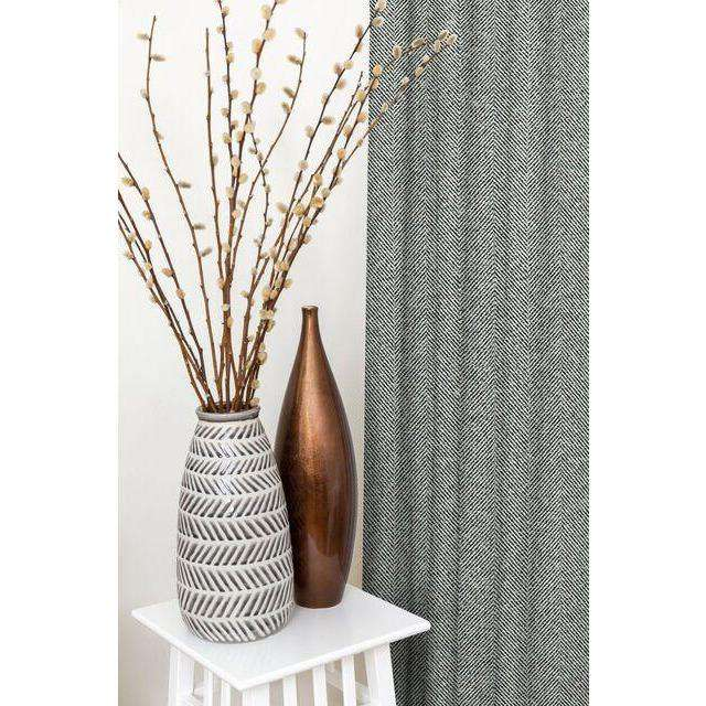 McAlister Textiles Herringbone Charcoal Grey Curtains Tailored Curtains
