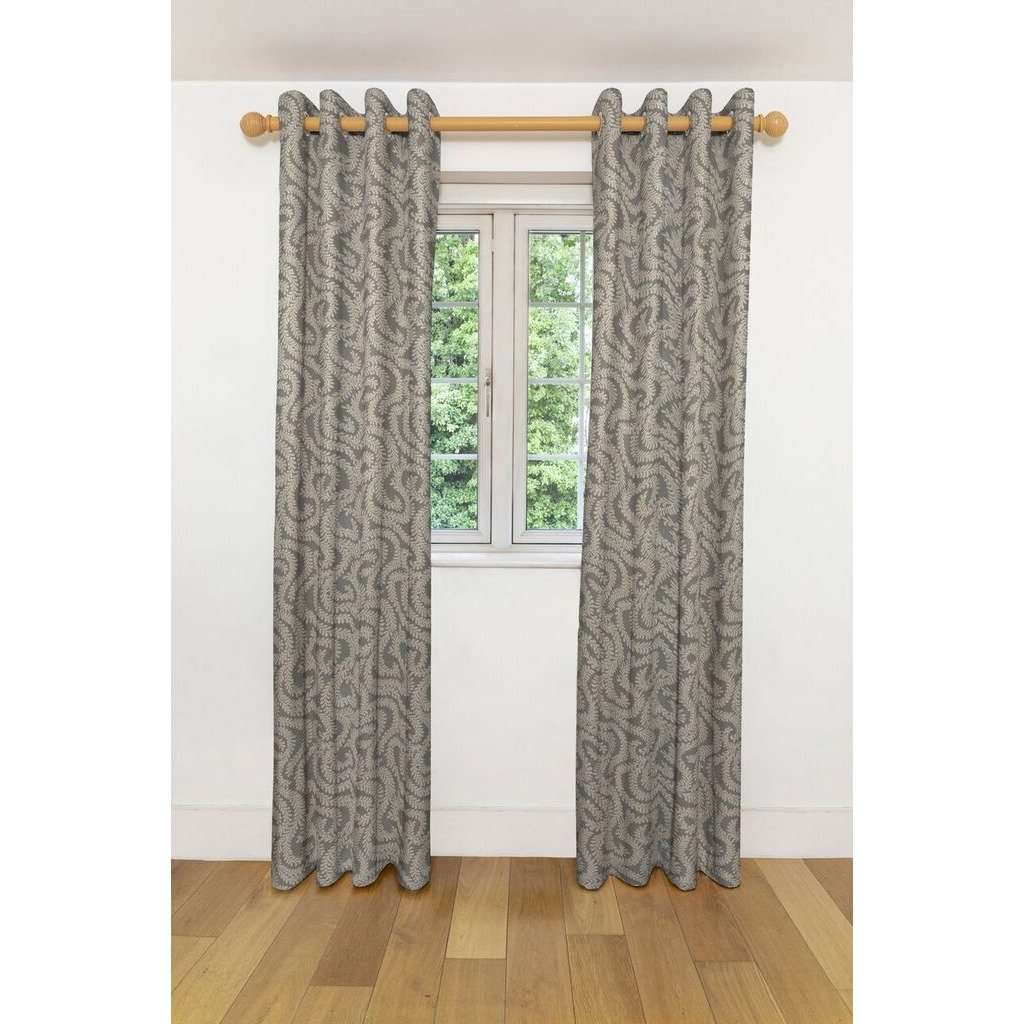 McAlister Textiles Little Leaf Charcoal Grey Curtains Tailored Curtains