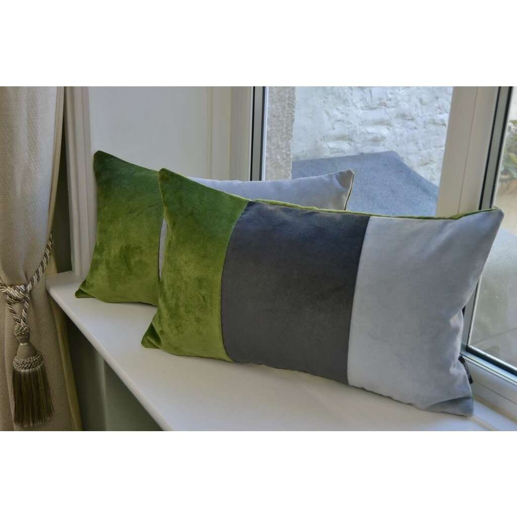McAlister Textiles 3 Colour Patchwork Velvet Green, Silver + Grey Pillow Pillow