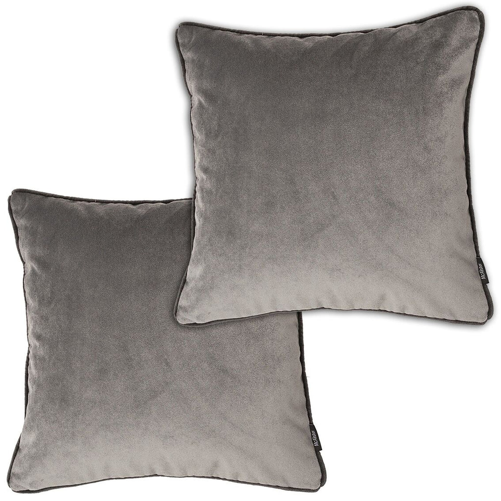 McAlister Textiles Matt Soft Silver Velvet 43cm x 43cm Cushion Sets Cushions and Covers Cushion Covers Set of 2