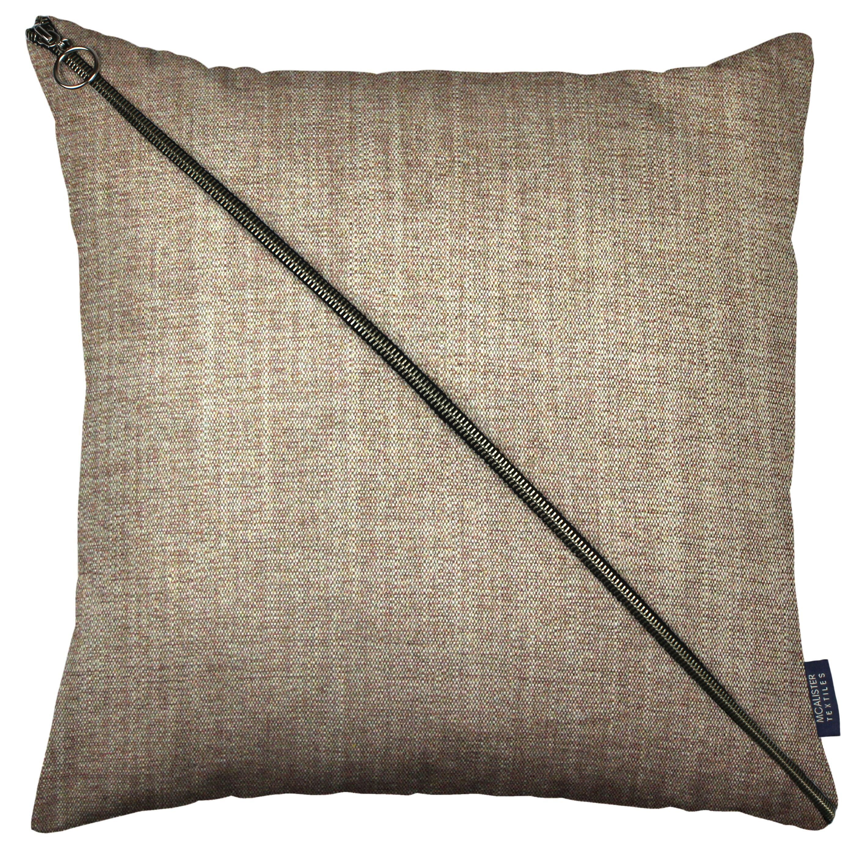McAlister Textiles Rhumba Diagonal Zip Taupe Linen Cushion Cushions and Covers Cover Only 43cm x 43cm