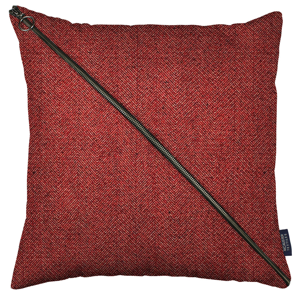 McAlister Textiles Herringbone Diagonal Zip Red Cushion Cushions and Covers Cover Only 43cm x 43cm