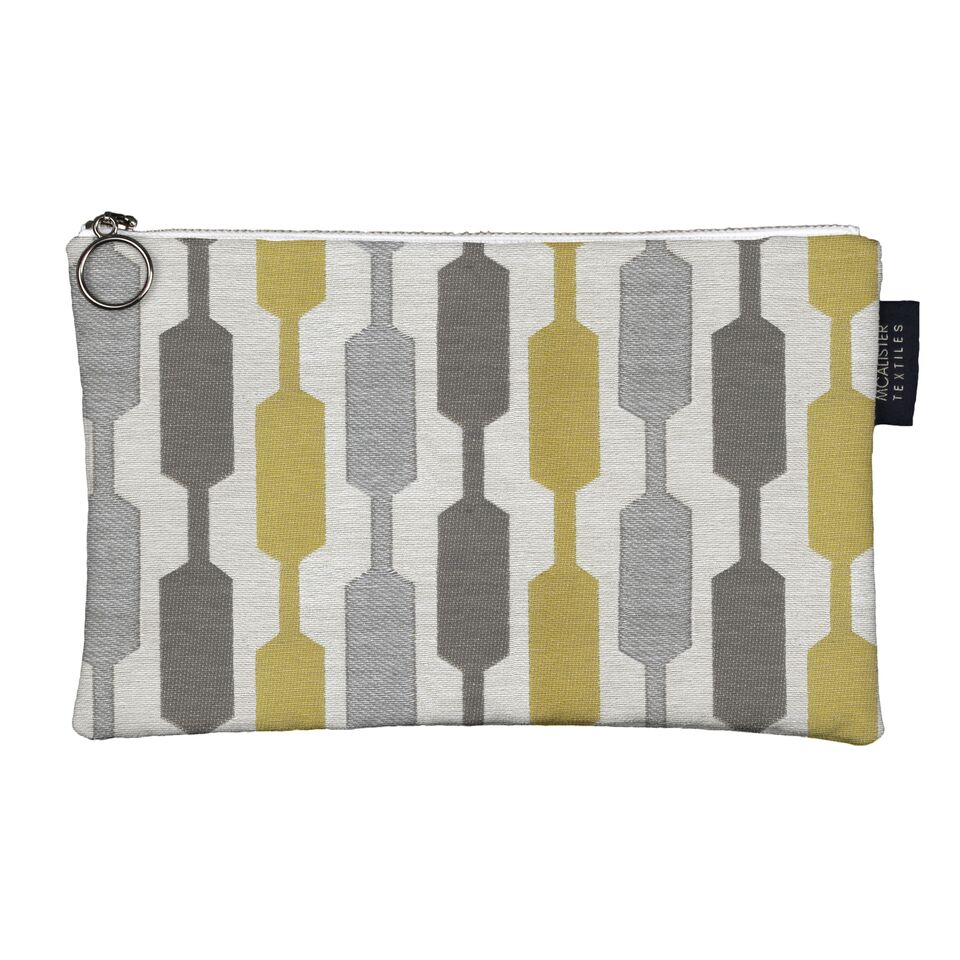 McAlister Textiles Lotta Yellow + Grey Makeup Bag - Large Clutch Bag