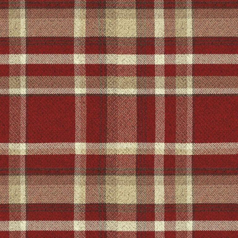 McAlister Textiles Heritage Red + White Tartan Curtains Tailored Curtains