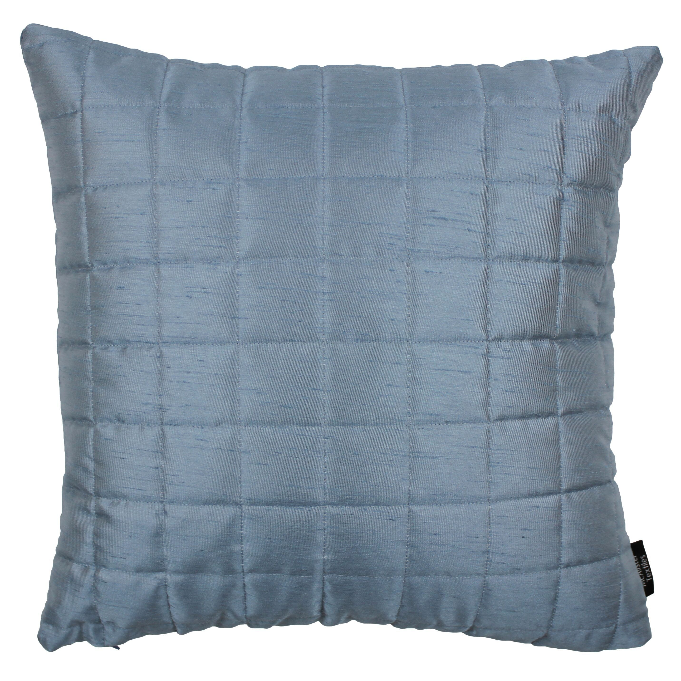 McAlister Textiles Rocco Square Quilted Wedgewood Blue Silk Cushion Cushions and Covers Cover Only 43cm x 43cm