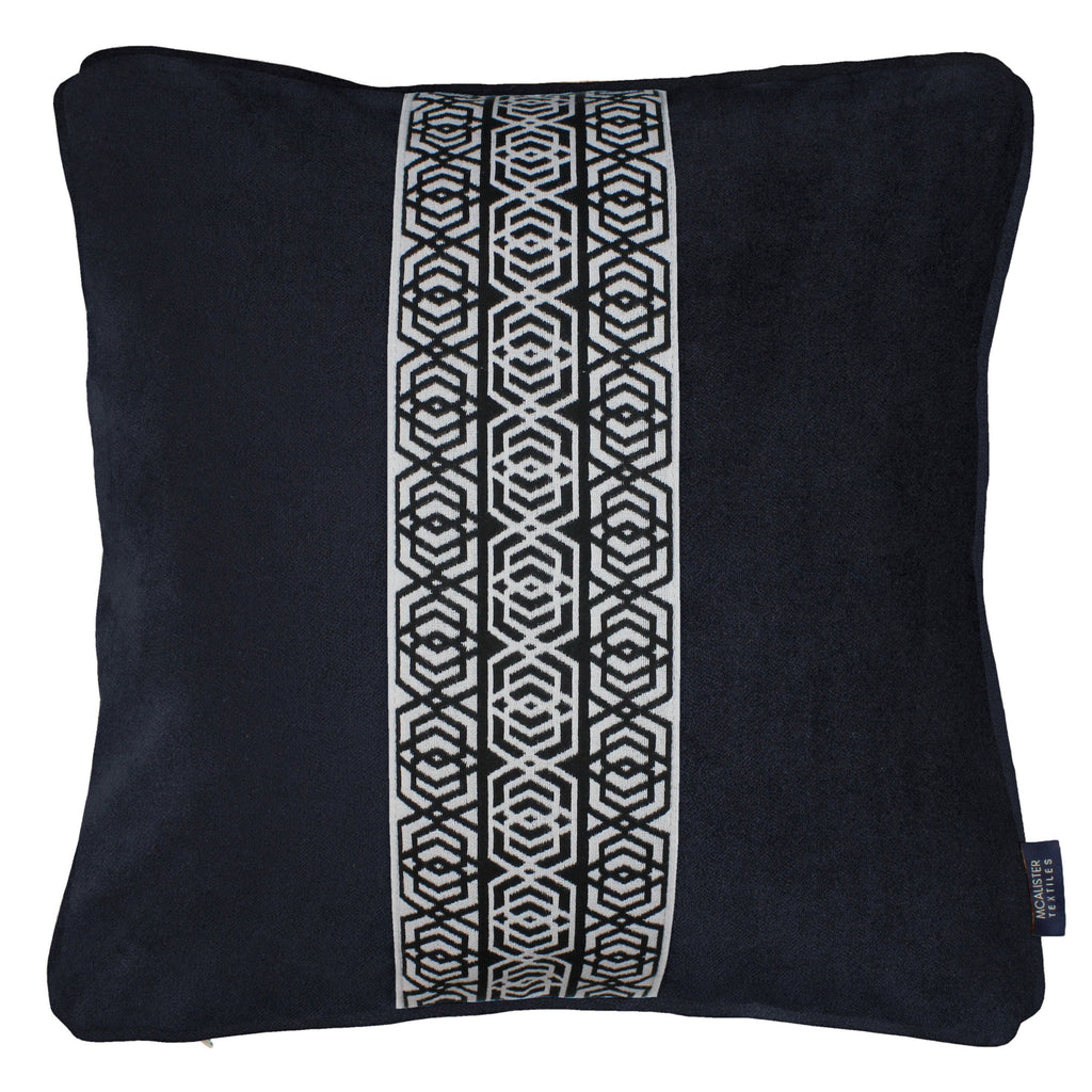 McAlister Textiles Coba Striped Black Velvet Cushion Cushions and Covers Polyester Filler 43cm x 43cm