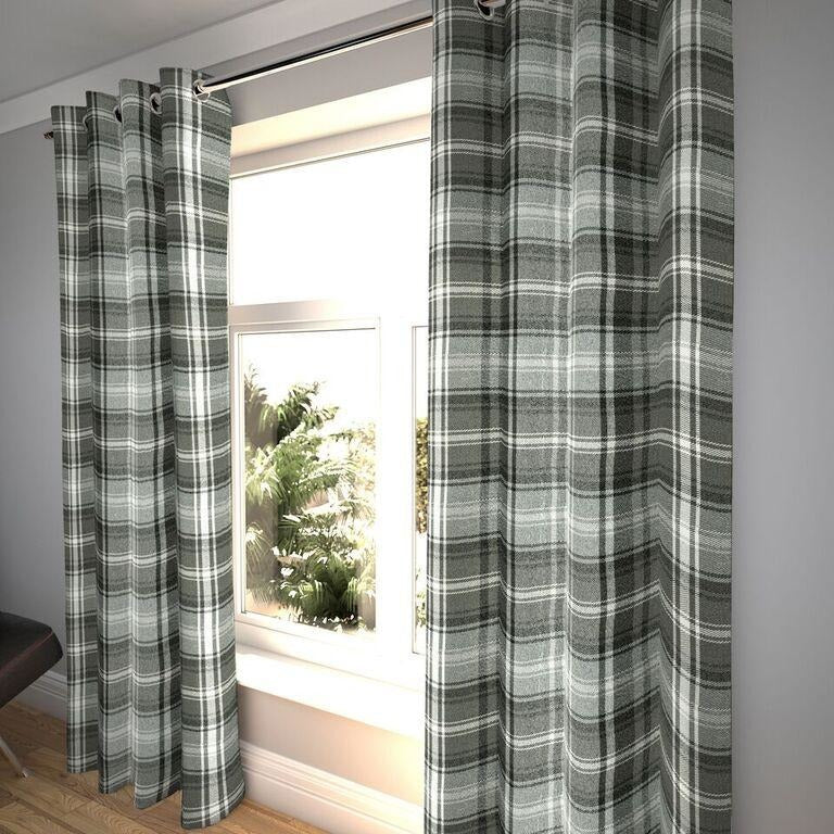 "McAlister Textiles Angus Tartan Check Charcoal Grey Curtains Tailored Curtains Pencil Pleat Standard Lining 116cm(w) x 137cm(d) (46"" x 54"")"