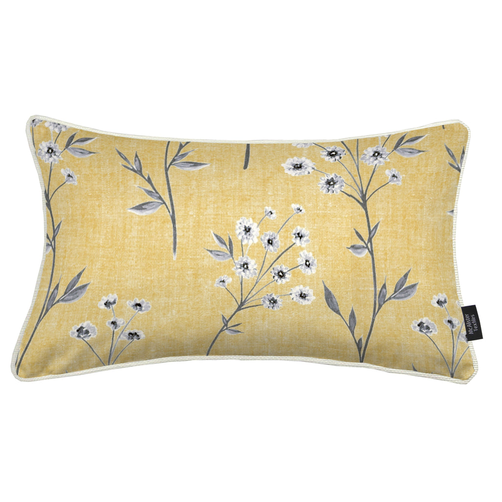 McAlister Textiles Meadow Yellow Floral Cotton Print Pillow Pillow Cover Only 50cm x 30cm