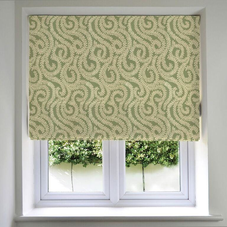 McAlister Textiles Little Leaf Sage Green Roman Blinds Roman Blinds