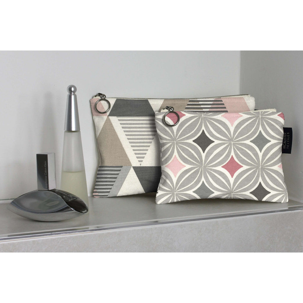 McAlister Textiles Blush Pink Cotton Print Makeup Bag Set Clutch Bag