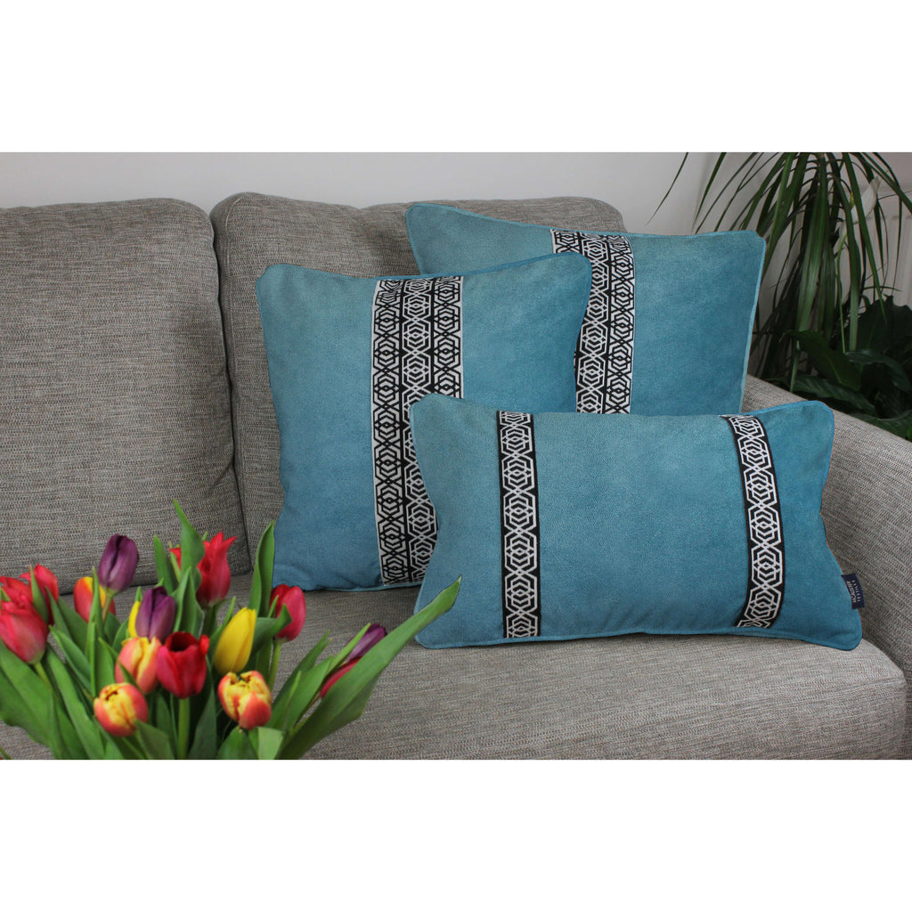 McAlister Textiles Coba Striped Duck Egg Blue Velvet Cushion Cushions and Covers
