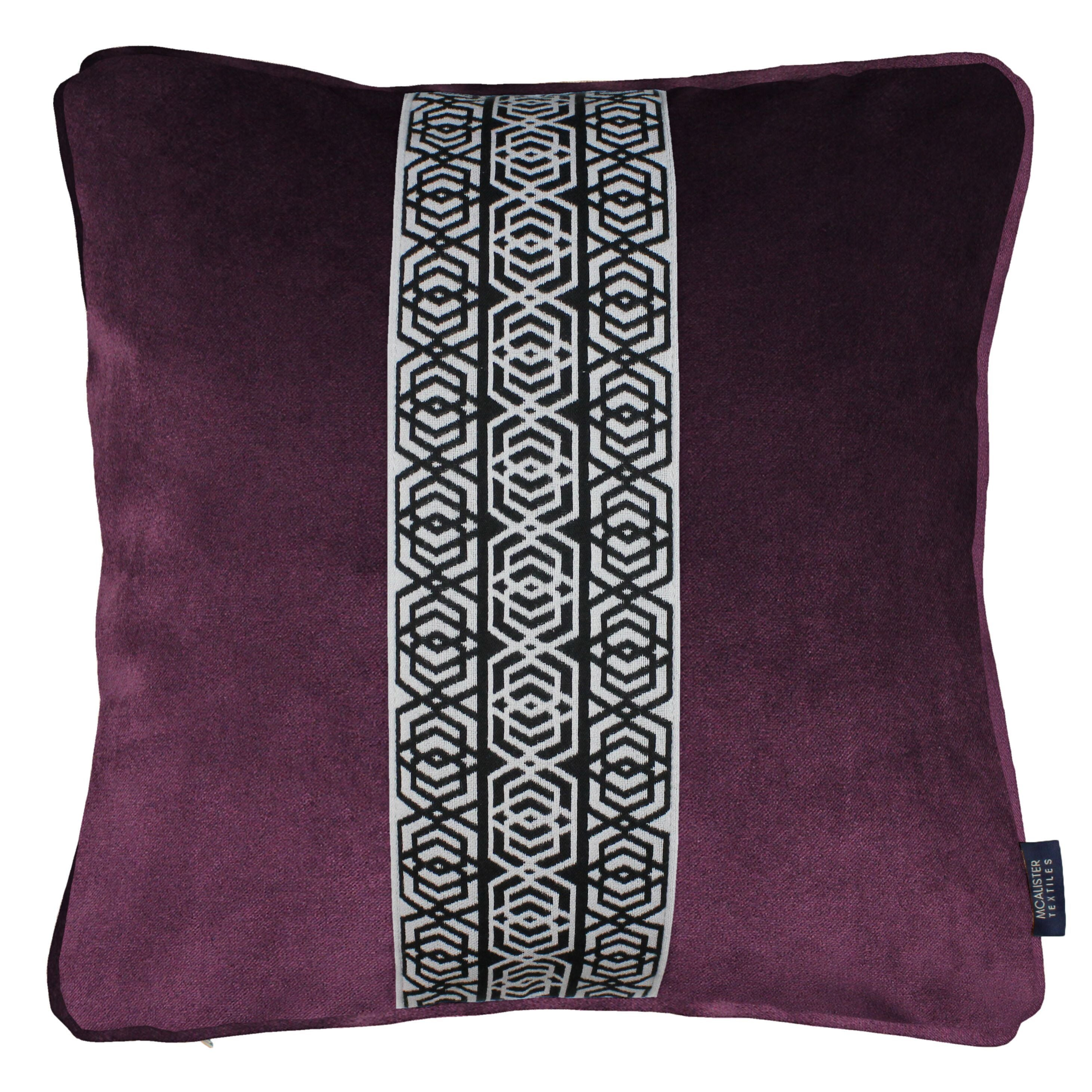 McAlister Textiles Coba Striped Aubergine Purple Velvet Cushion Cushions and Covers Polyester Filler 43cm x 43cm