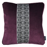 Carica l'immagine nel visualizzatore di Gallery, McAlister Textiles Coba Striped Aubergine Purple Velvet Cushion Cushions and Covers Polyester Filler 43cm x 43cm