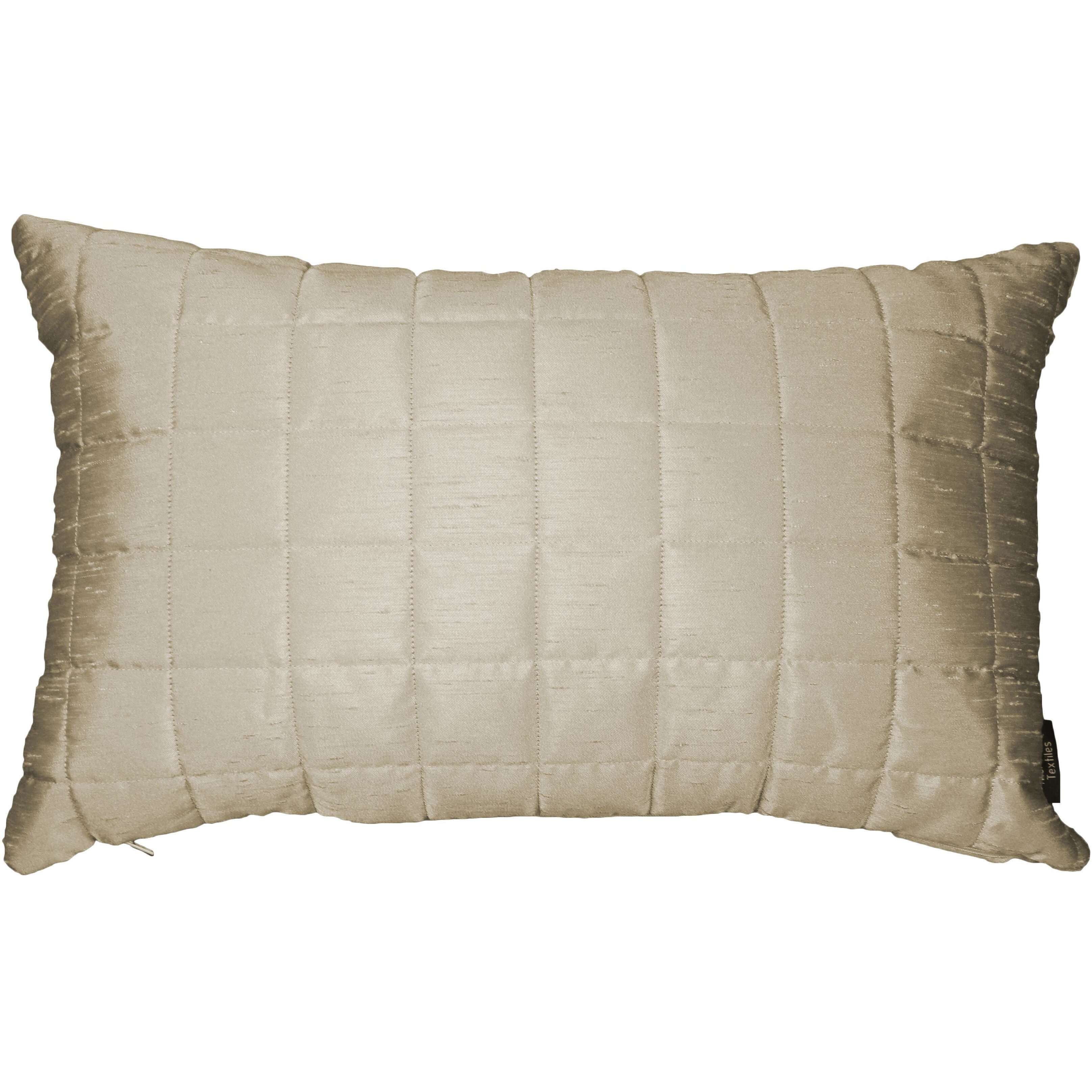 McAlister Textiles Rocco Square Quilted Ivory Silk Cushion Cushions and Covers Cover Only 50cm x 30cm