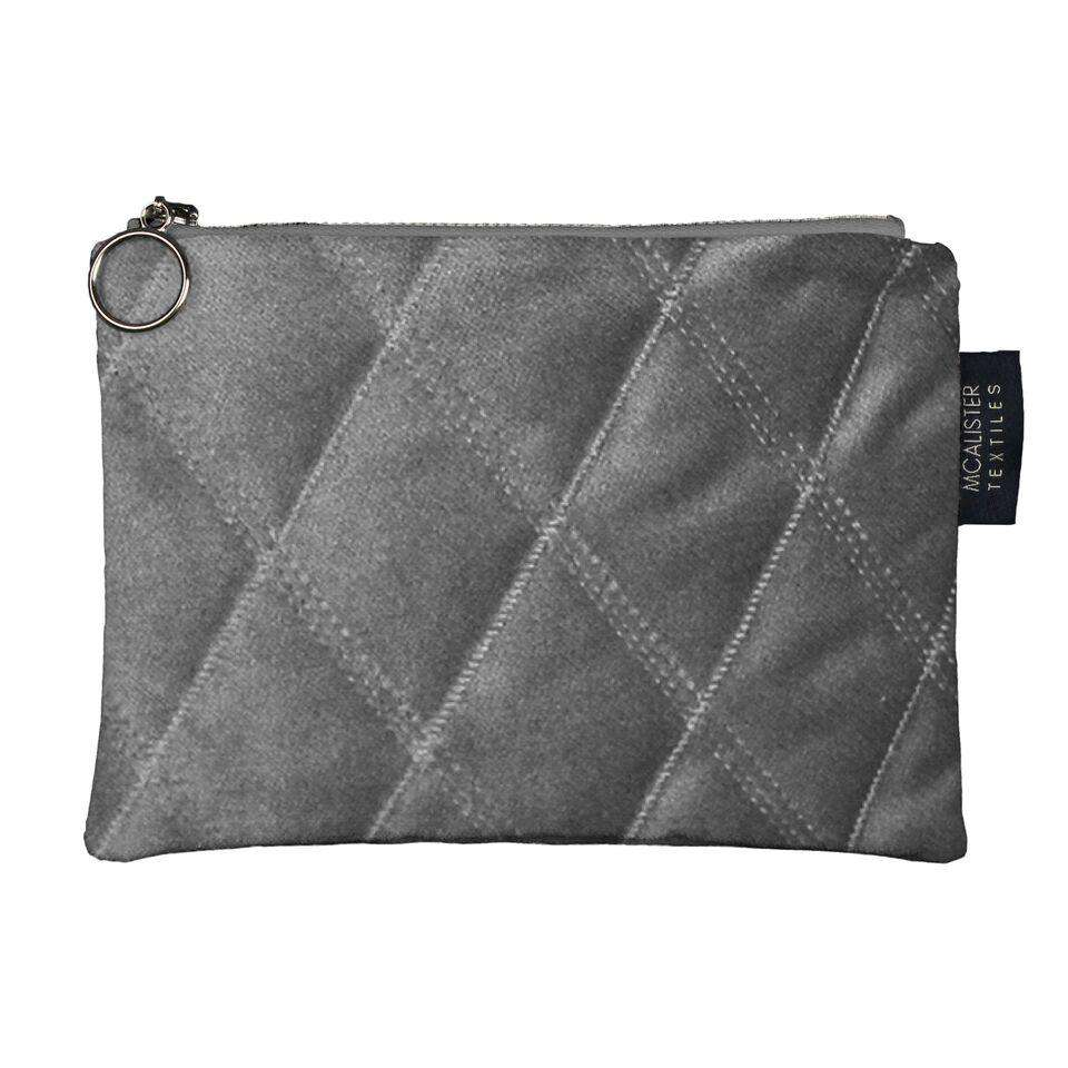 McAlister Textiles Diamond Pattern Silver Velvet Makeup Bag Clutch Bag
