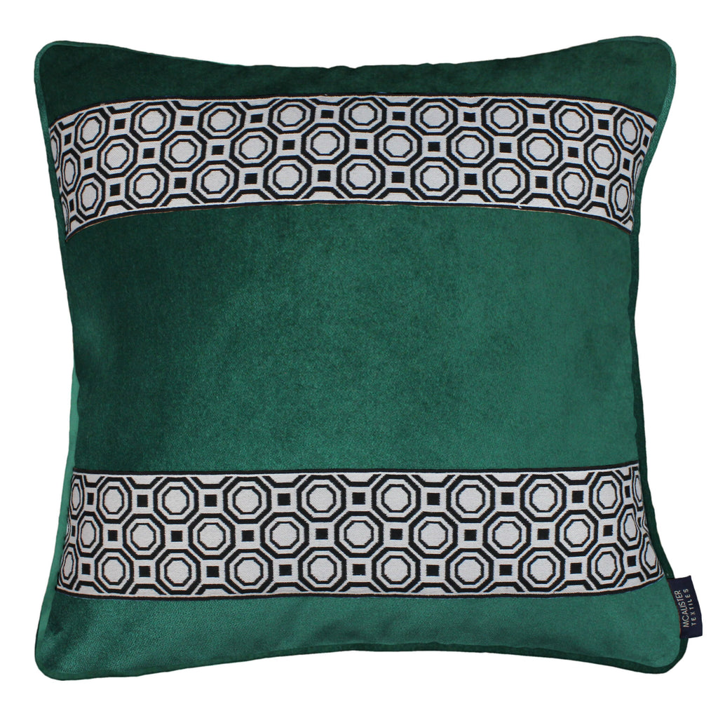McAlister Textiles Cancun Striped Emerald Green Velvet Cushion Cushions and Covers Polyester Filler 43cm x 43cm