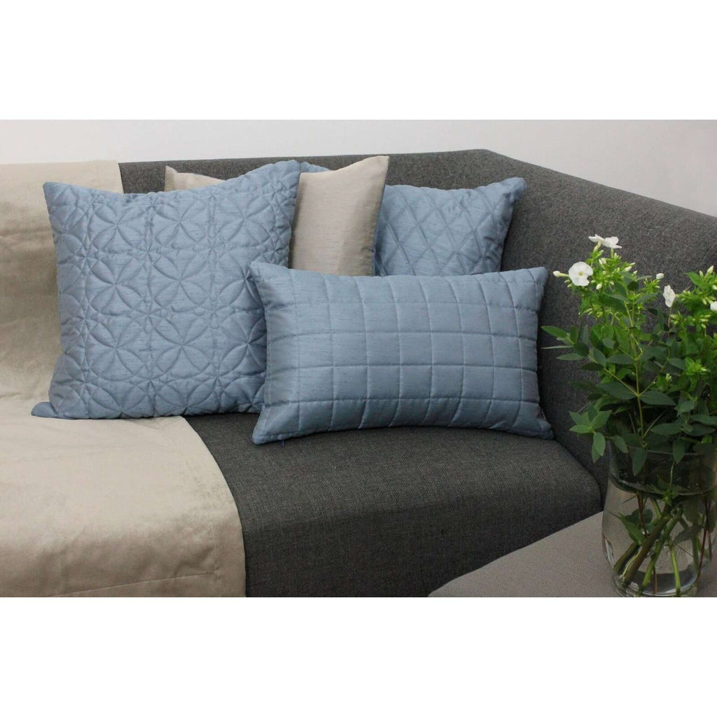 McAlister Textiles Rocco Diamond Quilted Wedgewood Blue Silk Cushion Cushions and Covers