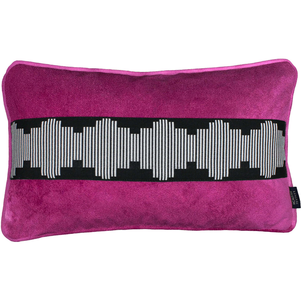 McAlister Textiles Maya Striped Fuchsia Pink Velvet Pillow Pillow Cover Only 50cm x 30cm
