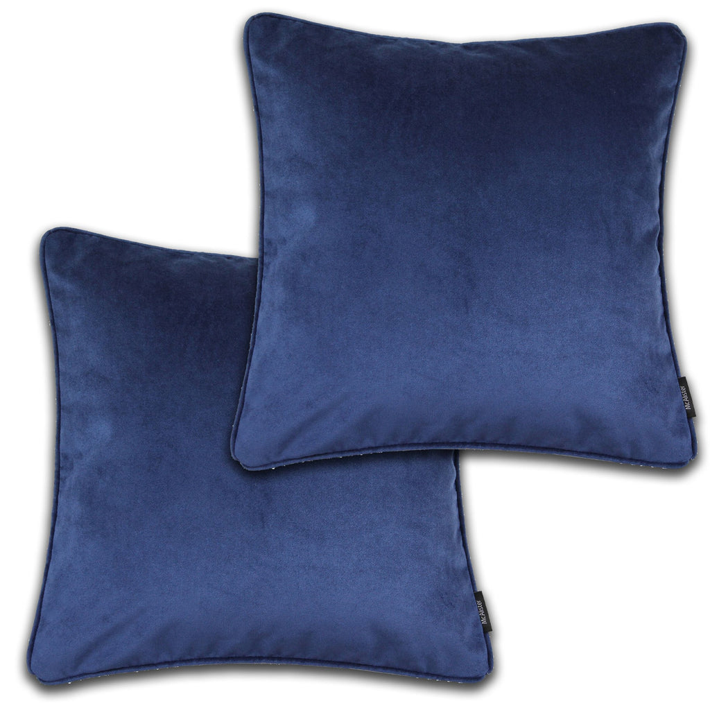McAlister Textiles Matt Navy Blue Velvet 43cm x 43cm Cushion Sets Cushions and Covers
