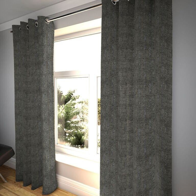 "McAlister Textiles Textured Chenille Charcoal Grey Curtains Tailored Curtains 116cm(w) x 182cm(d) (46"" x 72"")"