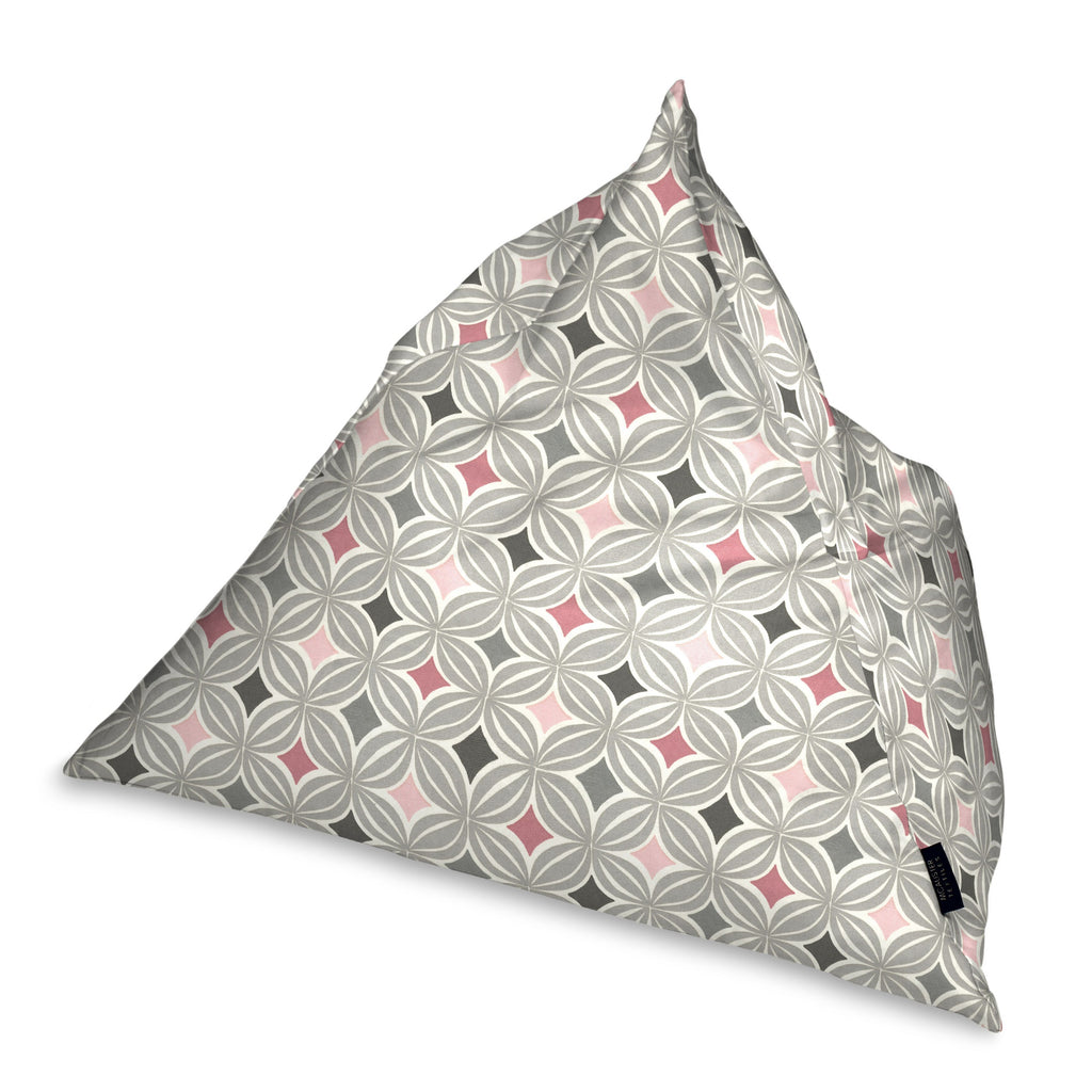 McAlister Textiles Laila Pink + Grey Bean Bag Chair Bean Bag