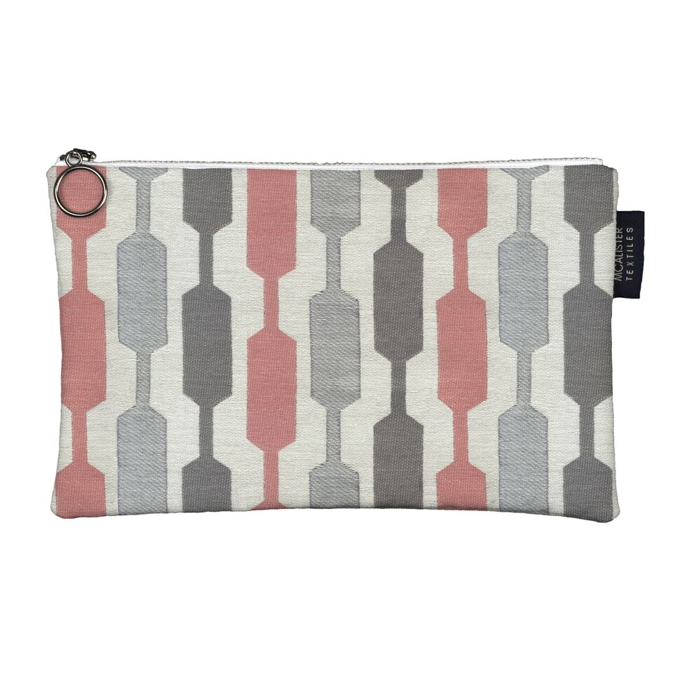 McAlister Textiles Lotta Pink + Grey Makeup Bag Set Clutch Bag