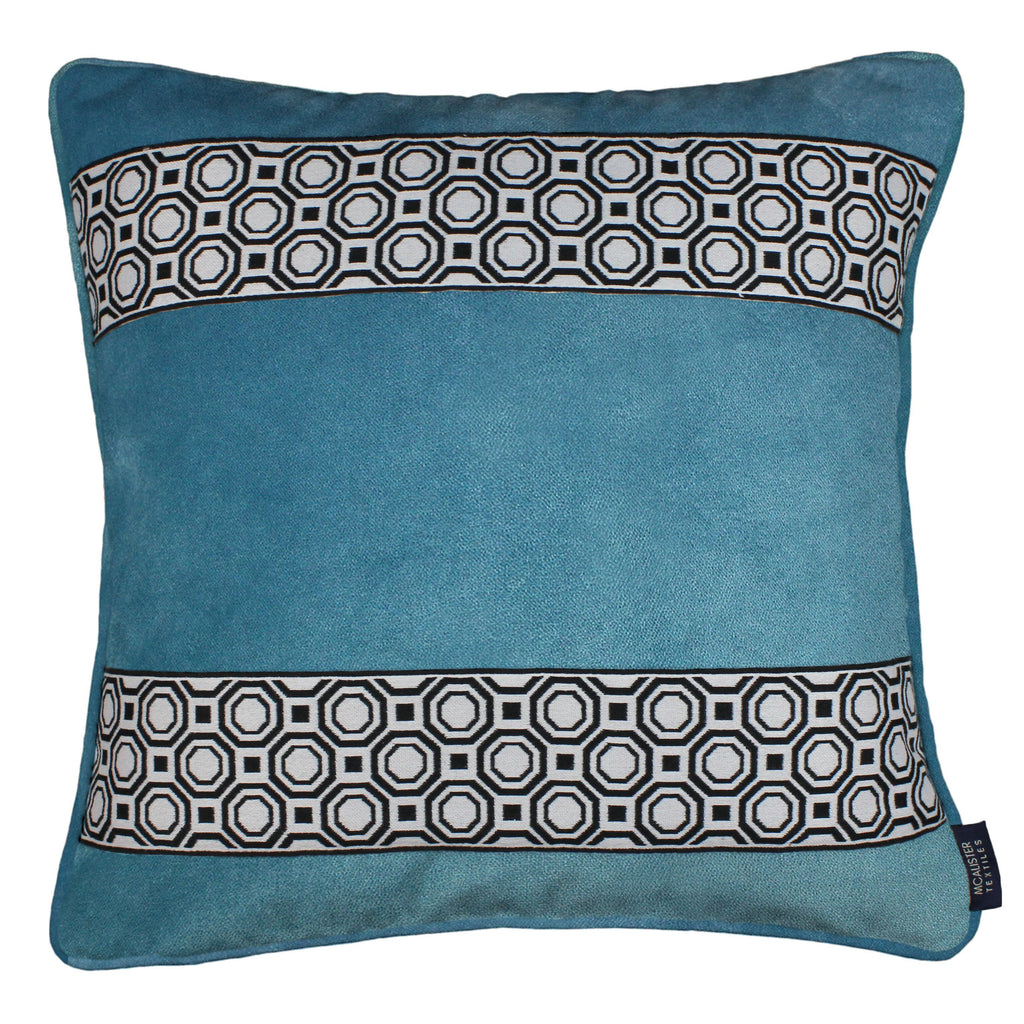 McAlister Textiles Cancun Striped Duck Egg Blue Velvet Cushion Cushions and Covers Polyester Filler 43cm x 43cm