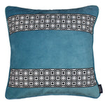 Load image into Gallery viewer, McAlister Textiles Cancun Striped Duck Egg Blue Velvet Cushion Cushions and Covers Polyester Filler 43cm x 43cm