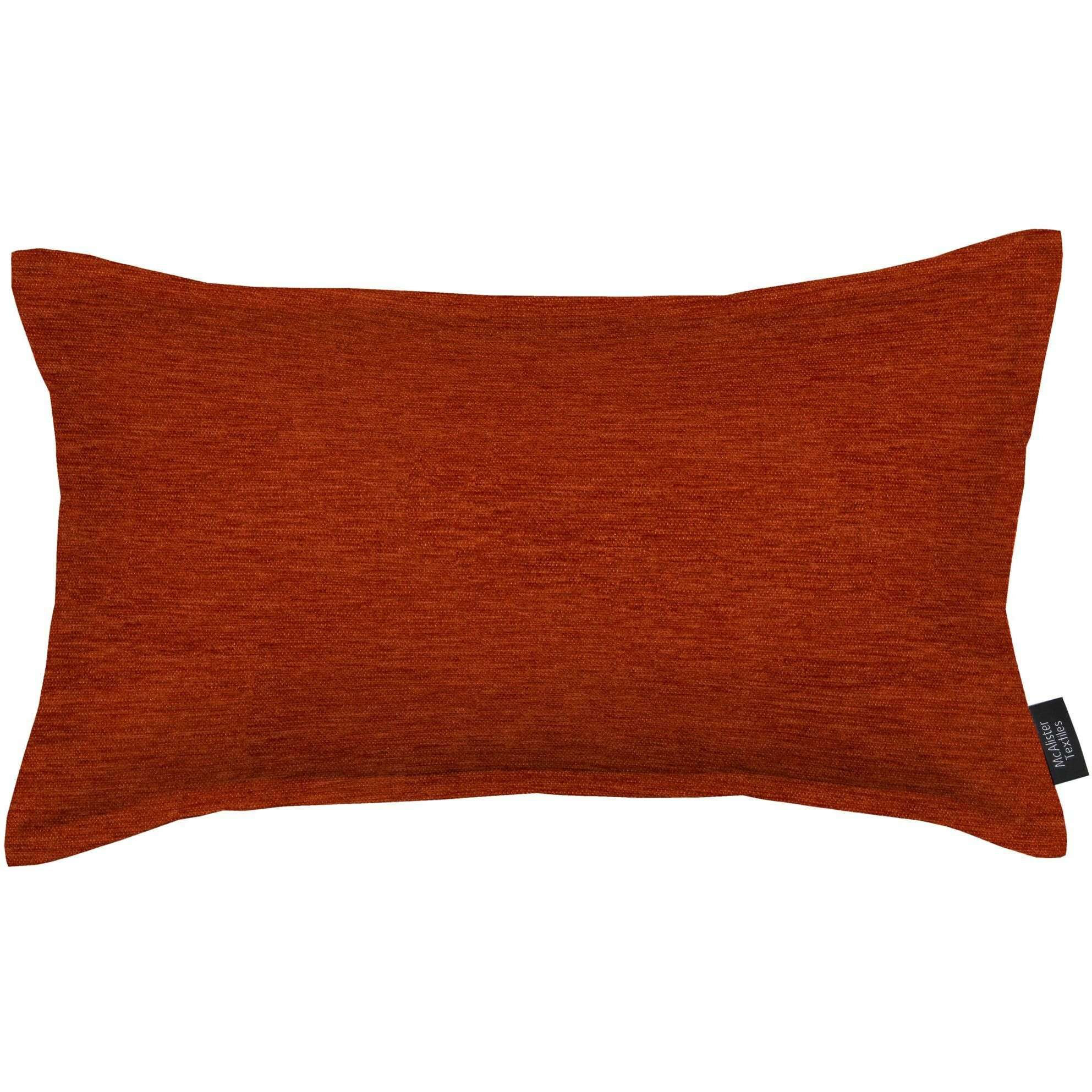 McAlister Textiles Plain Chenille Burnt Orange Cushion Cushions and Covers Polyester Filler 60cm x 40cm