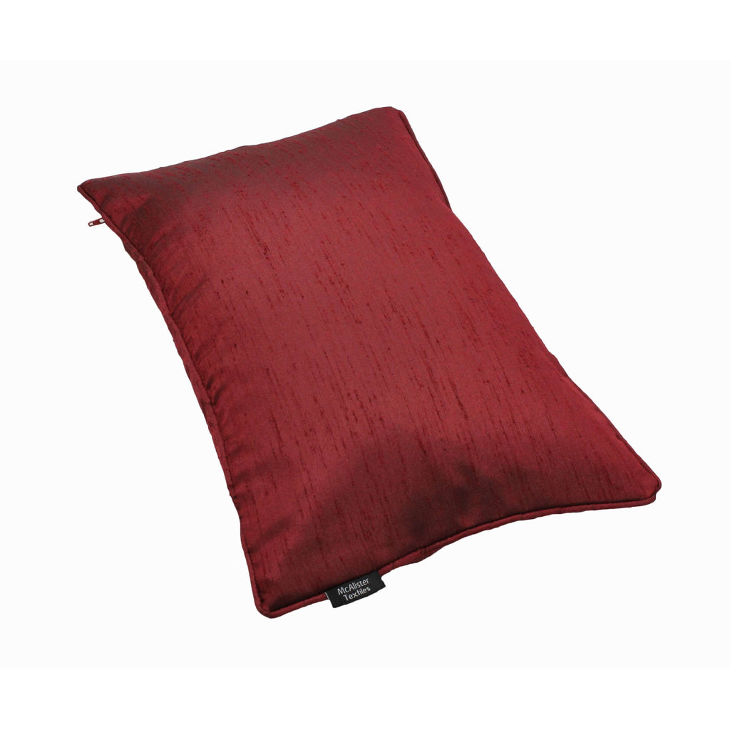 McAlister Textiles Rocco Plain Faux Silk Wine Red Cushion Cushions and Covers
