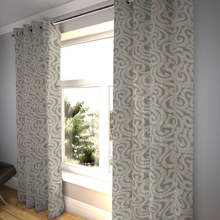 "McAlister Textiles Little Leaf Charcoal Grey Curtains Tailored Curtains 116cm(w) x 182cm(d) (46"" x 72"")"
