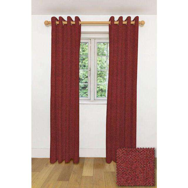 "McAlister Textiles Herringbone Red Curtains Tailored Curtains Pencil Pleat Standard Lining 116cm(w) x 137cm(d) (46"" x 54"")"