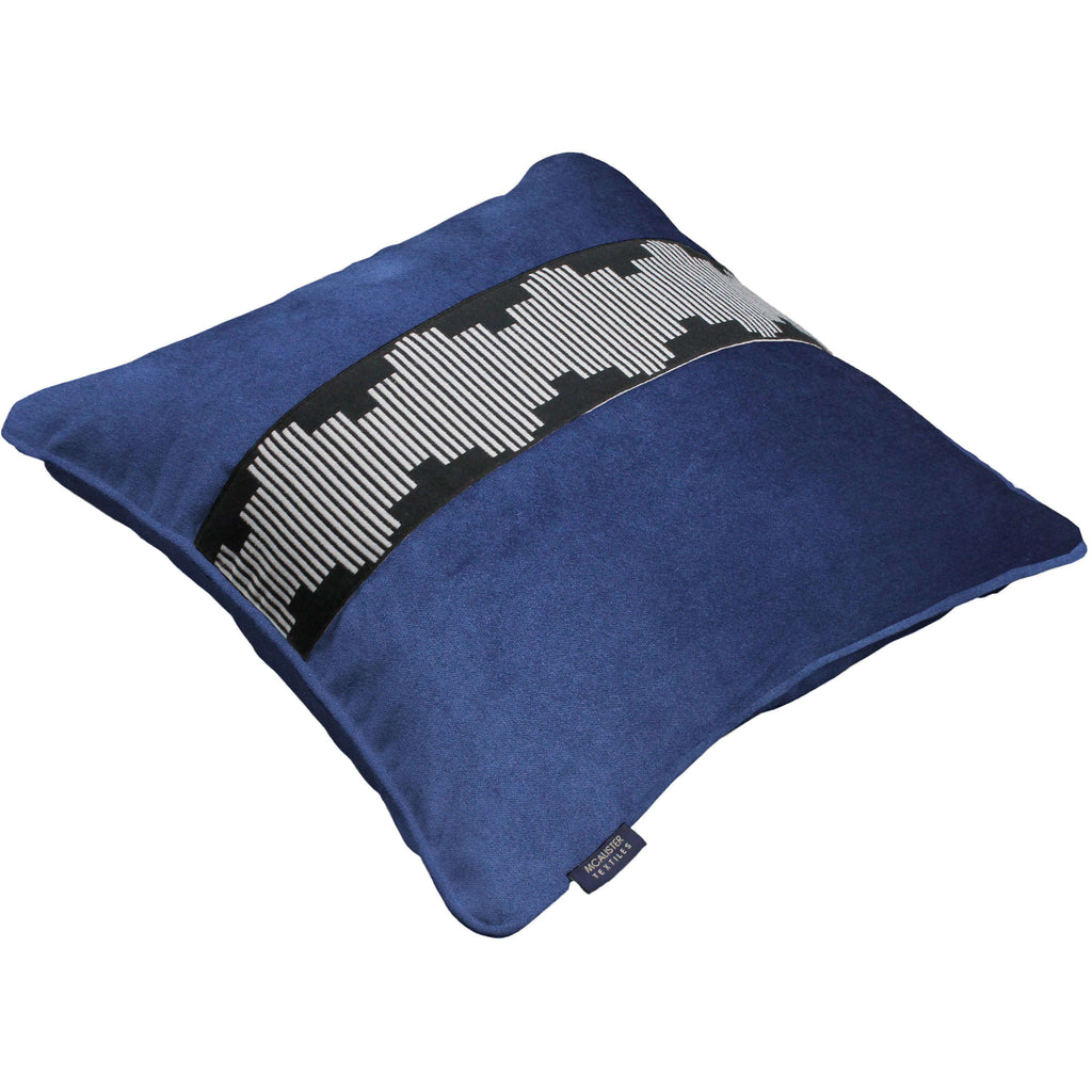 McAlister Textiles Maya Striped Navy Blue Velvet Cushion Cushions and Covers